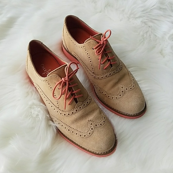 COLE HAAN ALYSA SUEDE OXFORD SHOES SANDSTONE